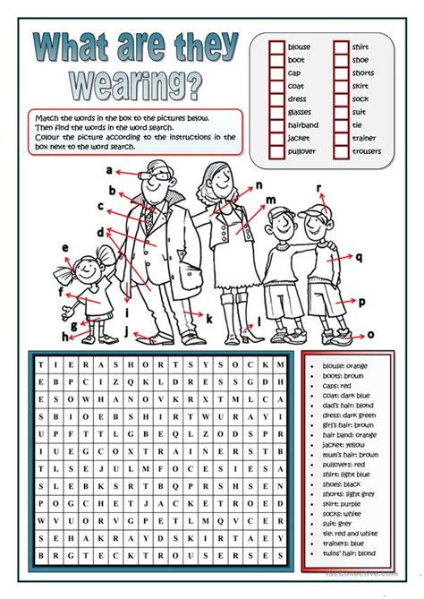 clothes word search worksheet  esl printable