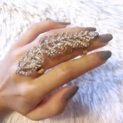 gold leaf rhinestone finger ring armor knuckle ring