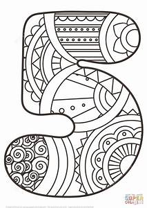 Number 5 Zentangle coloring page | Free Printable Coloring ...