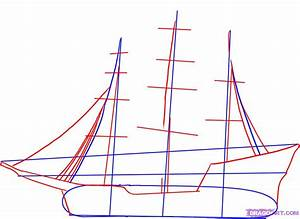 how to draw a pirate ship step 2