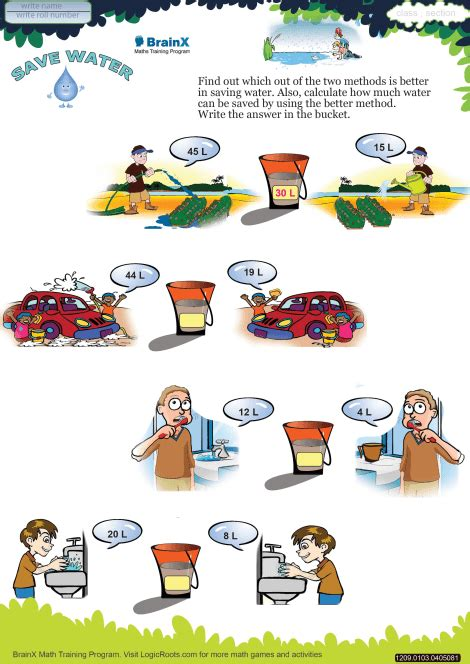 save water math worksheet for grade 1 free printable