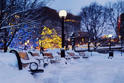 Winter shops city night snow wallpaper