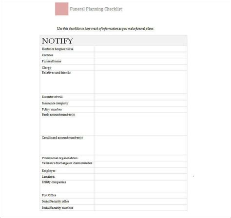 funeral planning template 3 funeral checklist templates free word pdf formats