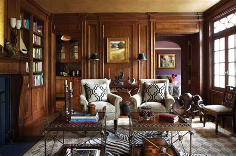 Masculine Library With Dark Wood Paneling -- Interior Design