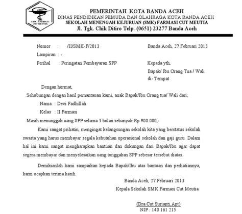 contoh surat pemberitahuan pembayaran sekolah untuk wali murid suratkerja