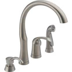 kitchen faucet handle shop delta stainless 1 handle high arc kitchen faucet with side spray at lowes com