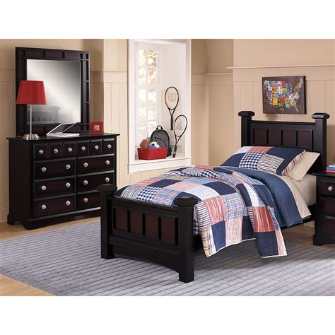 winchester 5 bedroom black and burnished merlot value city furniture