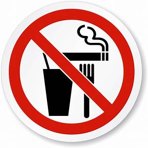 No Food Drinking Or Smoking Symbol - ISO Prohibition Sign ...