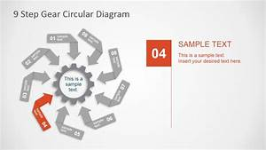 9 Steps Gear Circular Diagram Powerpoint Template
