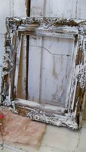 Distressed antique wooden frame large ornate white chippy
