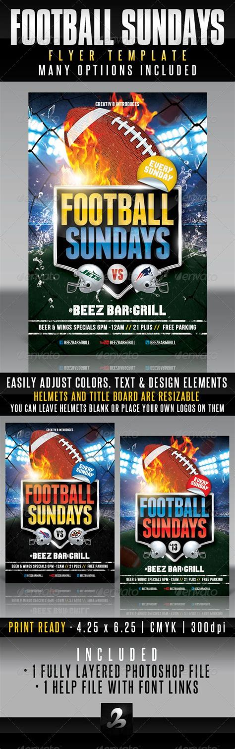 football sundays flyer template graphicriver