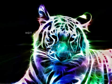 fractal tiger neon feline art animal cats azct