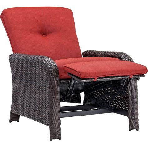 hanover strathmere crimson red outdoor reclining patio arm