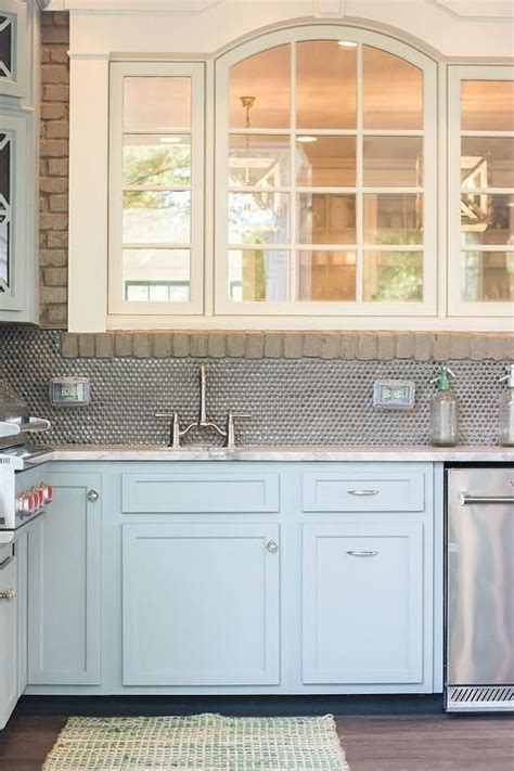 southern edition blue kitchen cabinets brown granite