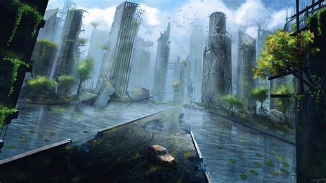 artwork apocalyptic city science fiction ruin