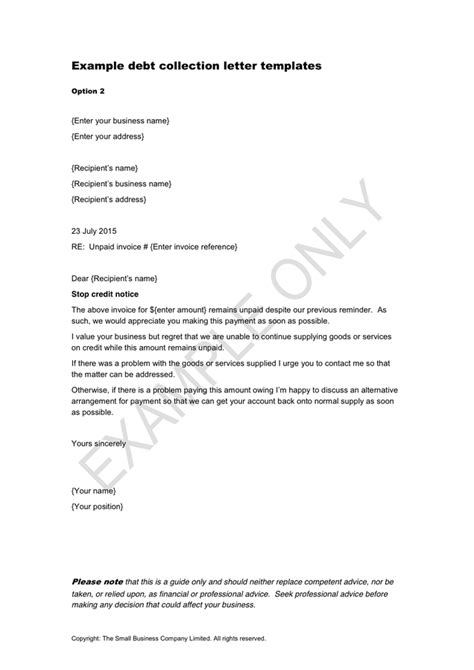 debt collection letter exle debt collection letter templates in word and pdf