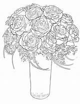 Bunch Roses Coloring Drawing Escalator Getdrawings sketch template