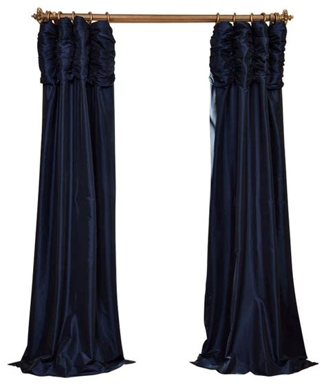 ruched navy blue faux silk taffeta curtain single panel