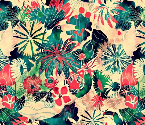 Stoff Dschungel Motiv jungle fabric demigoutte spoonflower