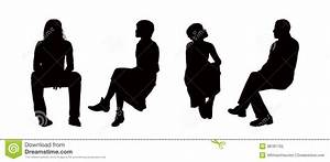People Seated Outdoor Silhouettes Set 6 Stock Illustration ...