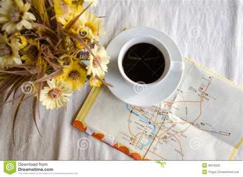 Cup Of Coffee, Flower Pot And Map On Table Royalty Free Stock Photo   Image: 36376225