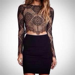 Top Occasion : dress black crop top long sleeve crop top lace crop top lace top bandage skirt black skirt ~ Gottalentnigeria.com Avis de Voitures