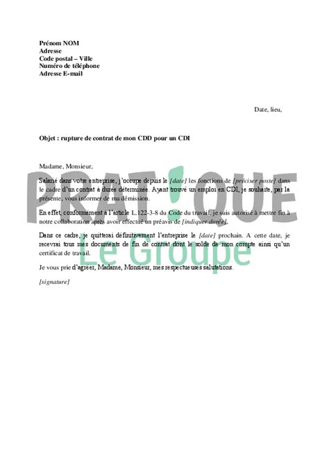 lettre de d 233 mission d un cdi application letter