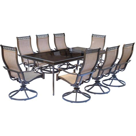rectangle table with chairs hanover monaco 9 piece aluminum outdoor dining set with