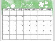 Watercolor March 2018 Calendar Printable Calendar