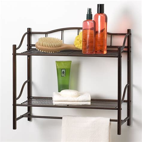 bathroom  shelf organizer towel bar wall mounted caddy