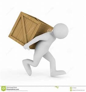 Men Carry Box On Back Stock Illustration  Illustration Of