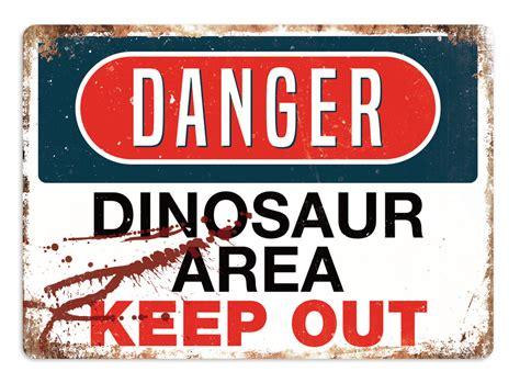 Bedroom Furniture Ebay by Danger Dinosaur Area Metal Wall Sign Plaque Art