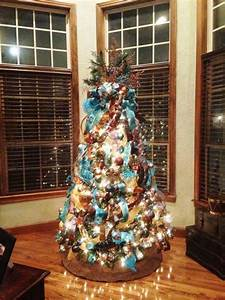 Brown And Turquoise Christmas Tree Designs