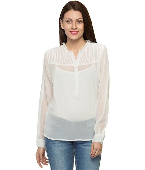 polyester blouses buy oxolloxo white polyester tops at best prices in