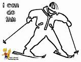 Coloring Winter Hockey Yescoloring Pages Sports Skier Boy Bone Cold sketch template