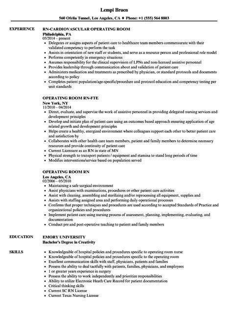 Operating Resume by Operating Room Resume Sle Vvengelbert Nl