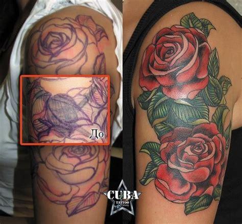 tatuaje  school flor cover  por cuba tattoo