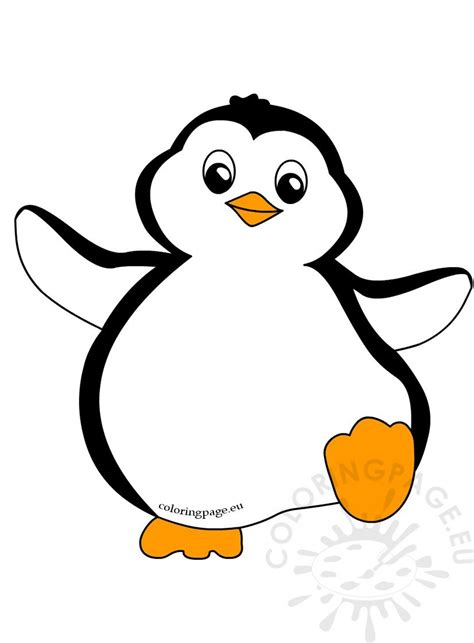 funny penguin clipart dancing coloring page