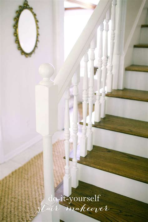 stair makeover treads  risers exposed