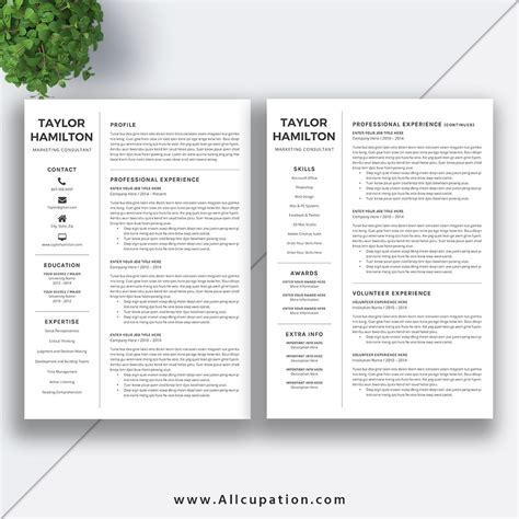 creative resume template cover letter 1 2 3 page