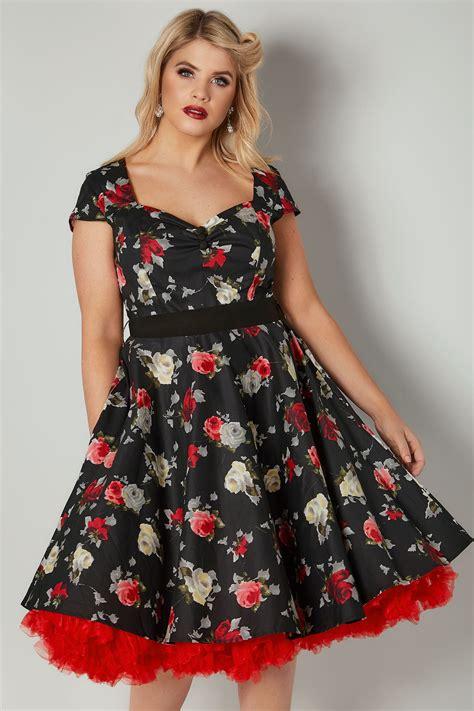 Hell Bunny Schwarz & Blumen Muster Arabella Kleid, In