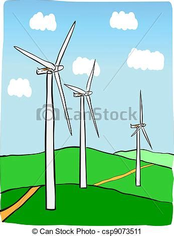 wind power plant hand drawn illustration  windmill