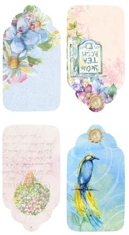 watercolor gift tags  flowers  birds