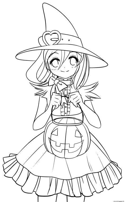 cute princess witch   pumpkin  autumn coloring pages printable