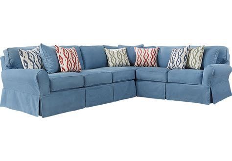 cindy crawford home beachside ii blue  pc sectional