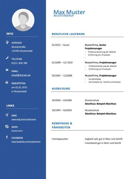 lebenslauf vorlage modern tabellarisch blau bewerbungcom