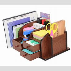 Pag Office Supplies Wood Desk Organizer Pen Mail Holder