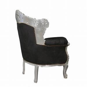 Canapé Baroque Pas Cher : fauteuil baroque noir en velours et argent meubles baroques ~ Teatrodelosmanantiales.com Idées de Décoration