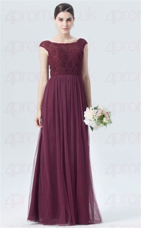 BDUK10022 Maroon 34 Lace Tulle A Line Scoop Long ...