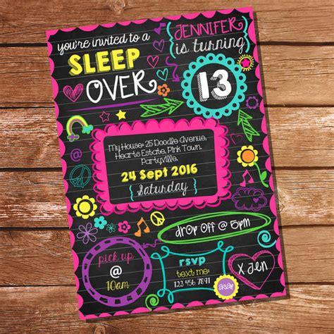 Neon Sleepover Invitation Tween Girls Sleep Over Party